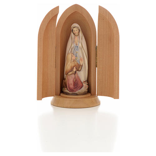 Our Lady of Lourdes with Bernadette in Nische wooden statue pain 5