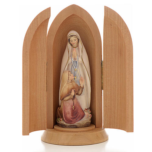 Our Lady of Lourdes with Bernadette in Nische wooden statue pain 1