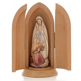 Imagem Nossa Senhora de Lourdes com Bernadette no nicho madeira pintada