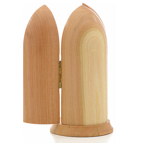 Our Lady of Lourdes with Bernadette in Nische wooden statue pain 3