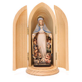 Our Lady of Mercy wooden statue in niche