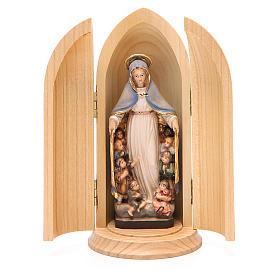 Statues en bois peint: Statue Notre Dame de la Protection dans niche bois peint