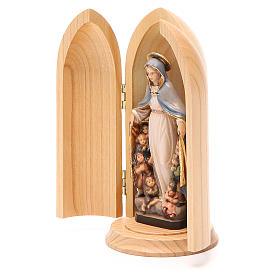 Statua Madonna della Protezione in nicchia legno s2