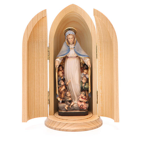 Statua Madonna della Protezione in nicchia legno 1