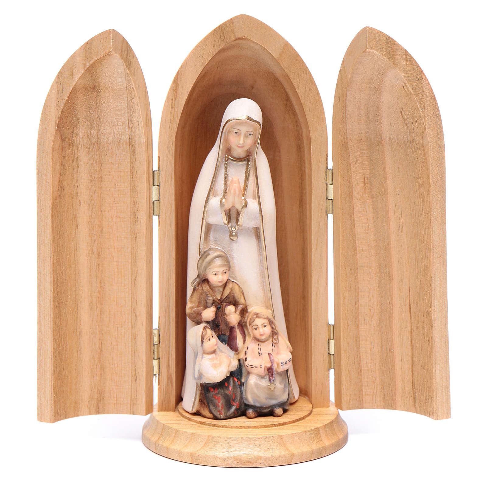 Statue Notre Dame de Fatima et 3 enfants dans niche bois peint 4
