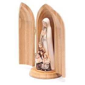 Statue Notre Dame de Fatima et 3 enfants dans niche bois peint s2