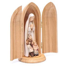 Statue Notre Dame de Fatima et 3 enfants dans niche bois peint s3