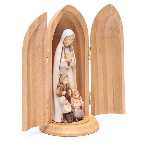 Statue Notre Dame de Fatima et 3 enfants dans niche bois peint 3