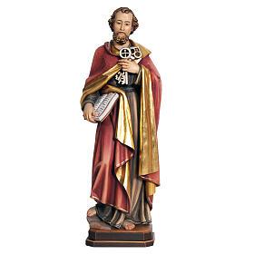 Statues en bois peint: Statue St Pierre avec les clés 31 cm bois peint