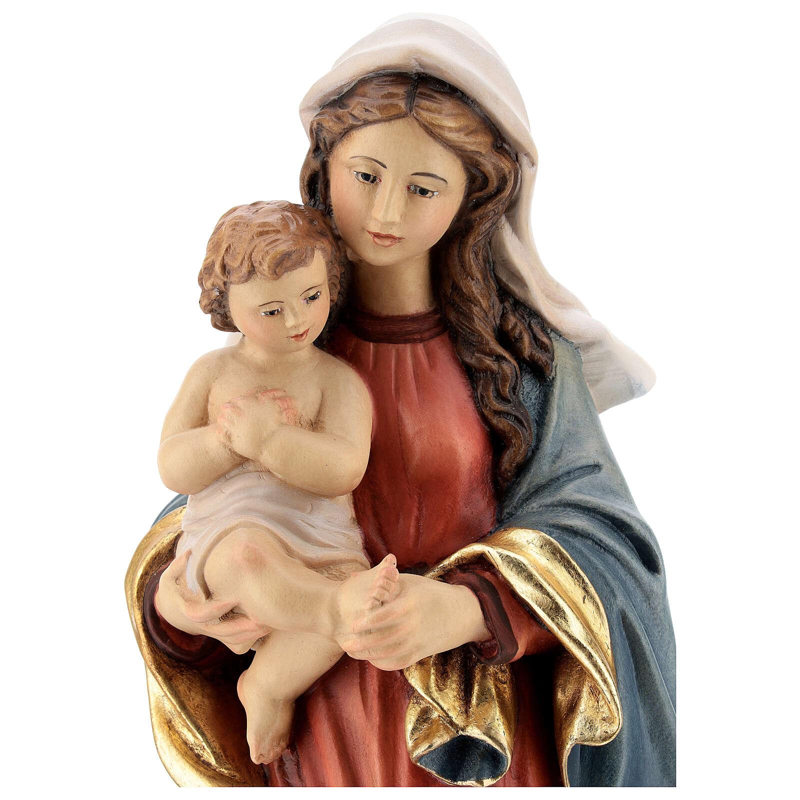 Virgen con niño madera Val Gardena estilo barroco 4