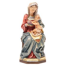Imágenes de Madera Pintada: Virgen con niño sentada y uvas madera Valgardena