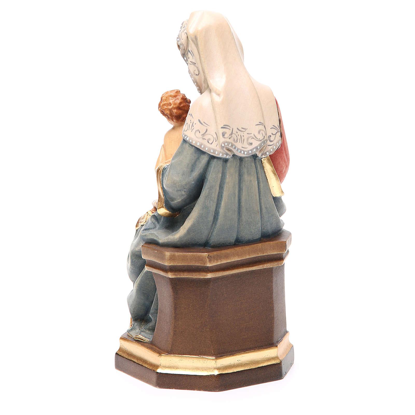 Matka Boża z Dzieciątkiem winogron drewno kolorowe Valgardena 4
