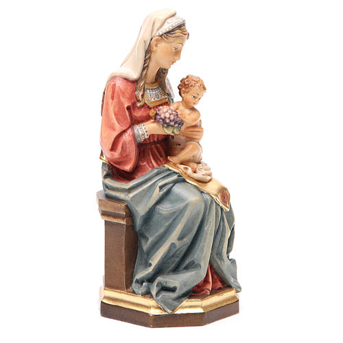 Virgin with baby and grapes in coloured Valgardena wood 4