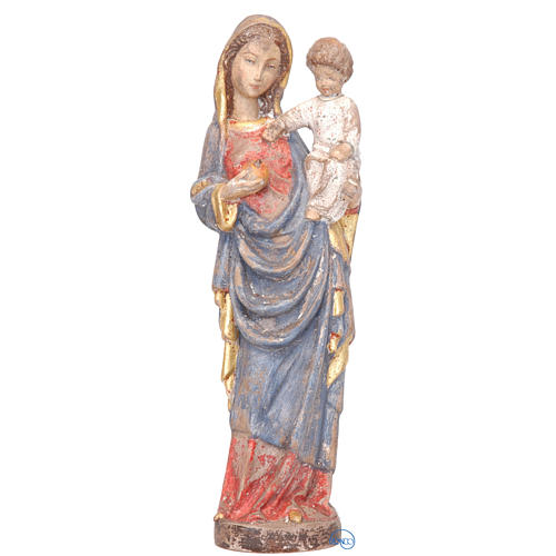 Vierge à l'enfant style gotique bois peint 25 cm 1