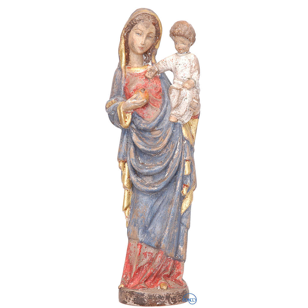 Madonna con bimbo stile gotico 25 cm legno finitura antica 4