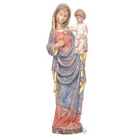 Madonna con bimbo stile gotico 25 cm legno finitura antica s1