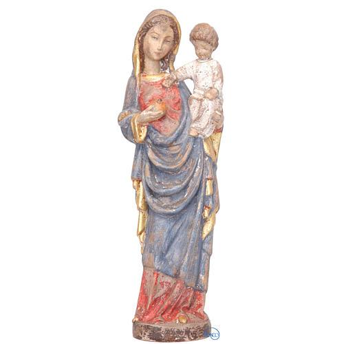 Madonna con bimbo stile gotico 25 cm legno finitura antica 1