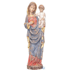 Madonna with baby gothic style 25cm in wood, antique finish s1