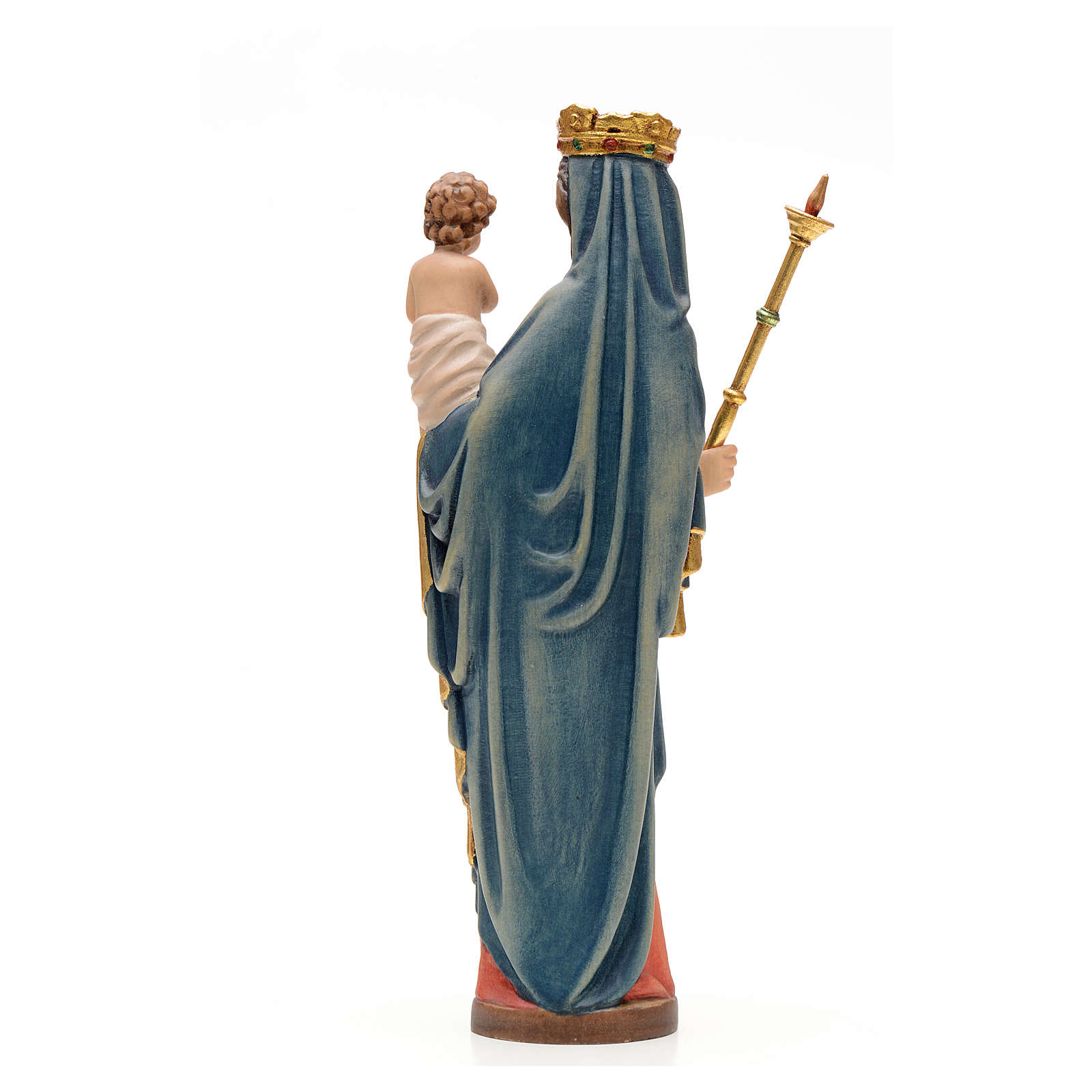 Madonna con bimbo e scettro 25 cm legno stile gotico 4
