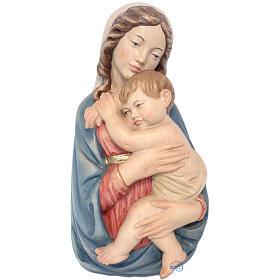 Rilievo Madonna con bimbo legno colorato Valgardena s1