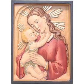 Relief Vierge à l'enfant rectangulaire bois peint s1