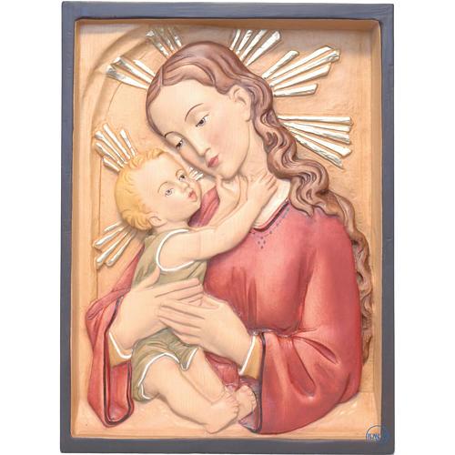 Relief Vierge à l'enfant rectangulaire bois peint 1