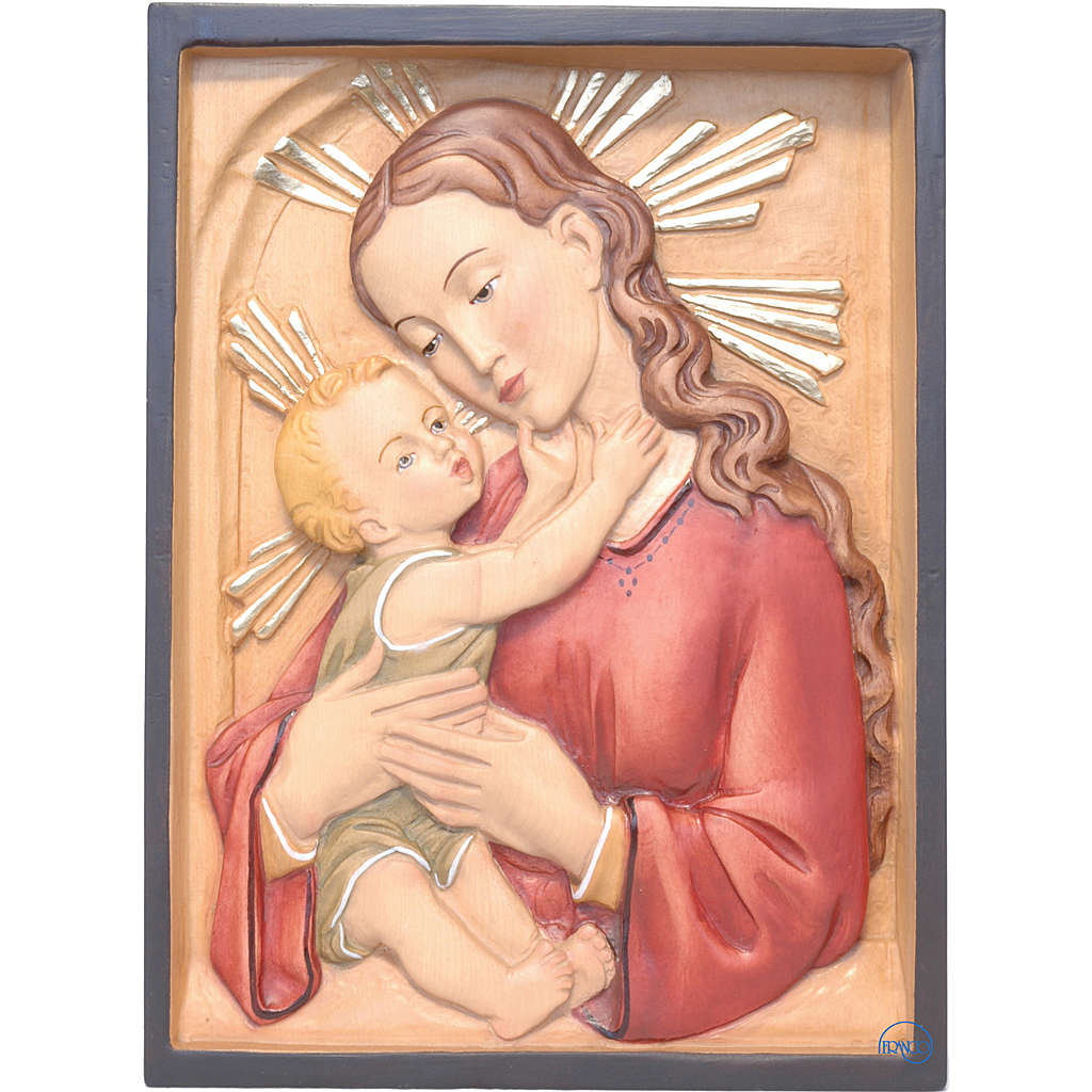 Madonna and baby rectangular relief, coloured Valgardena wood 4
