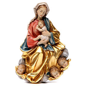 Madonna and baby relief, painted Valgardena wood, baroque style s1