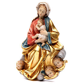 Madonna and baby relief, painted Valgardena wood, baroque style s3