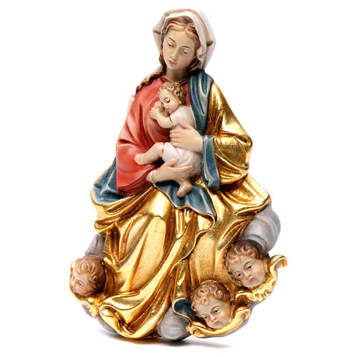 Madonna and baby relief, painted Valgardena wood, baroque style 3