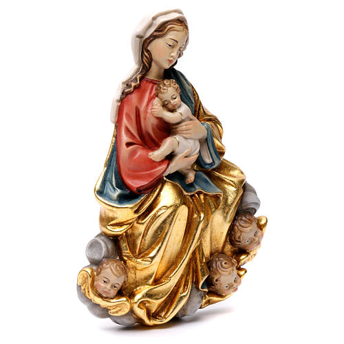 Madonna and baby relief, painted Valgardena wood, baroque style 4