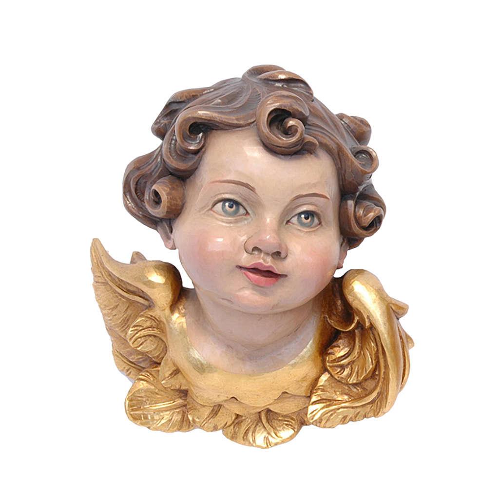 Testina angelo legno dipinto Valgardena 3