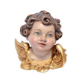 Testina angelo legno dipinto Valgardena s1
