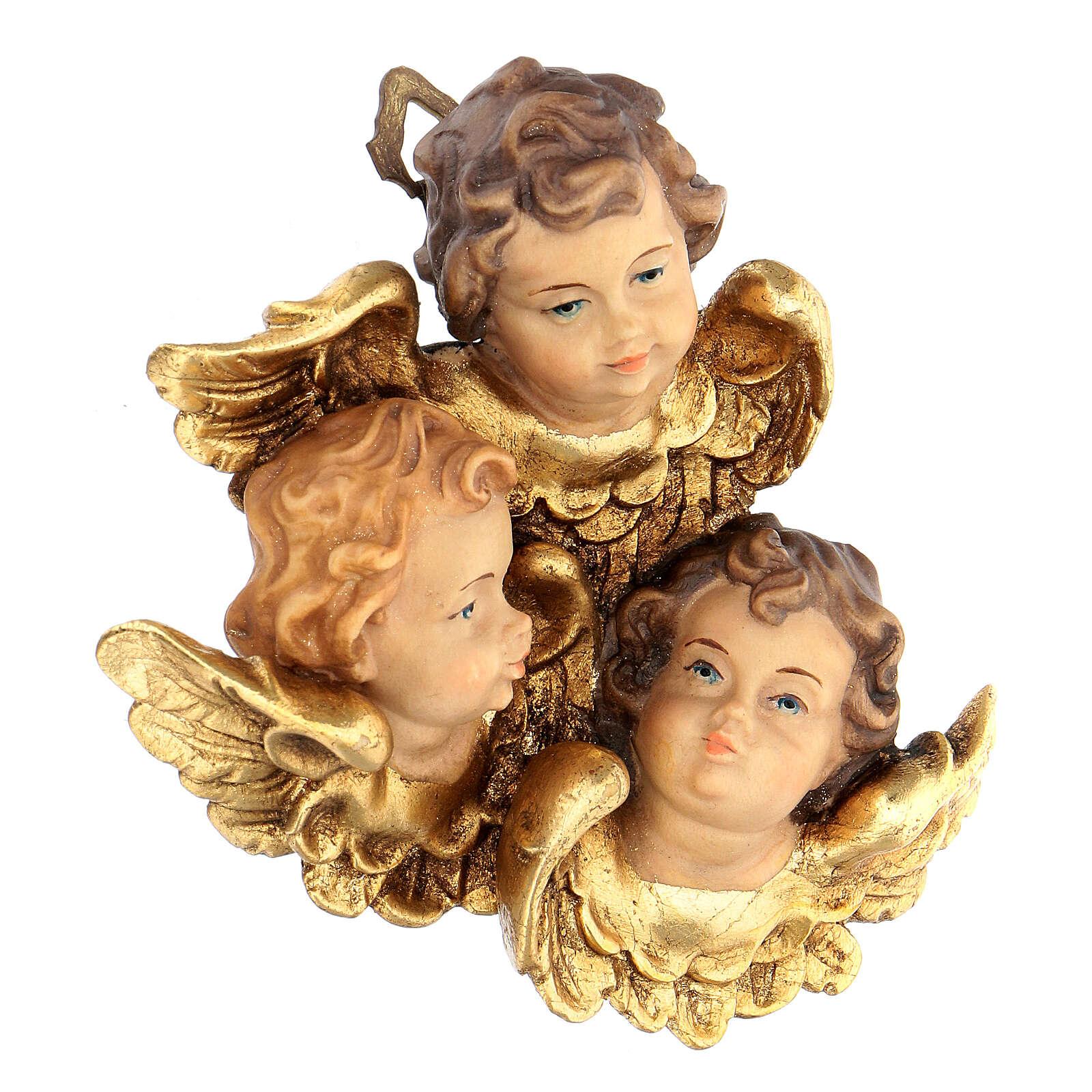 Trittico testine d'angelo legno dipinto Valgardena 3
