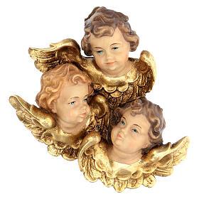 Trittico testine d'angelo legno dipinto Valgardena s1