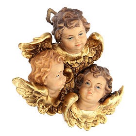 Trittico testine d'angelo legno dipinto Valgardena s2
