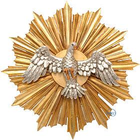 Colombe sur rayons dorés relief 28 cm bois Val Gardena s1