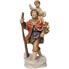 Statues en bois peint: Saint Christophe à l'enfant bois peint Valgardena