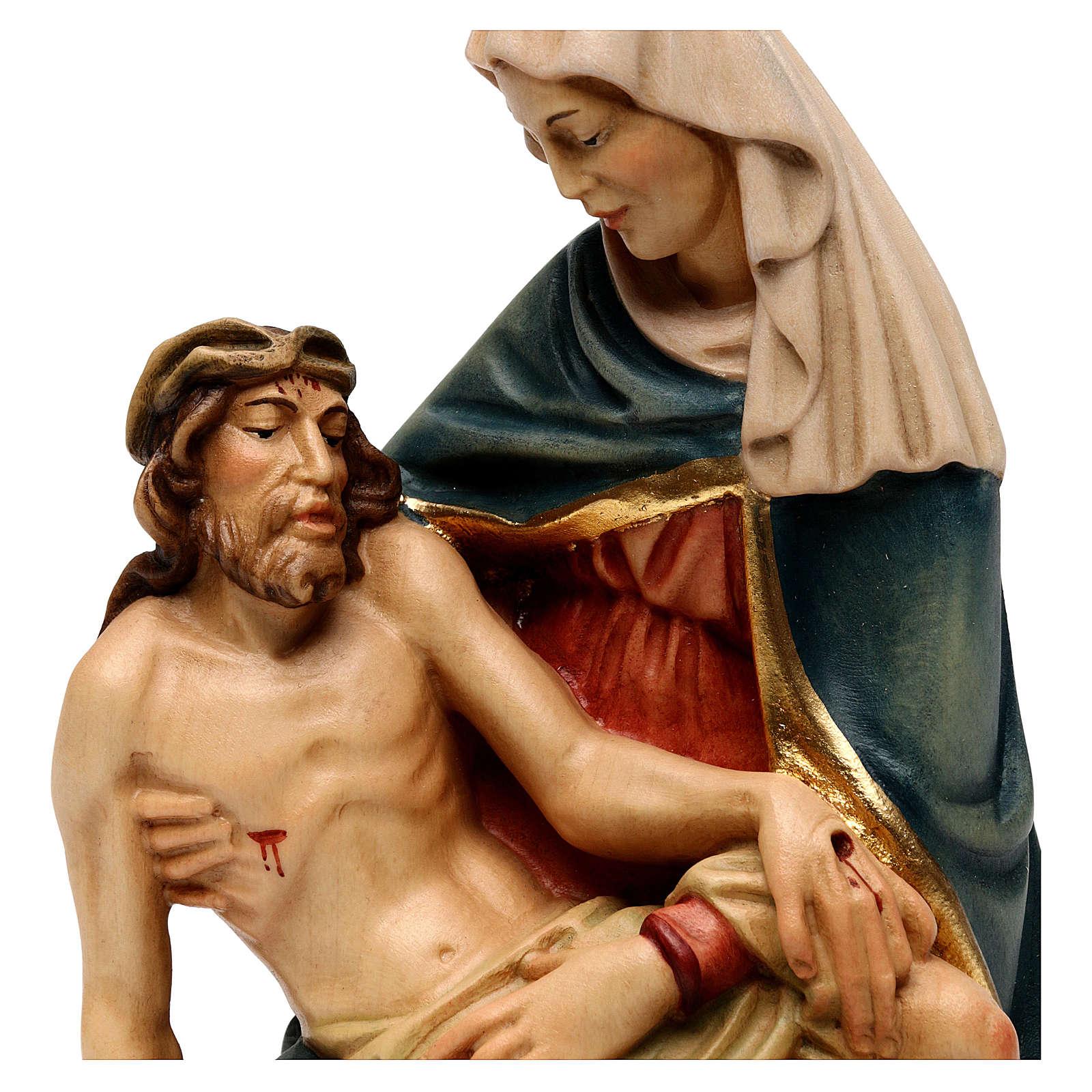 Pietà di Michelangelo legno dipinto Valgardena 4