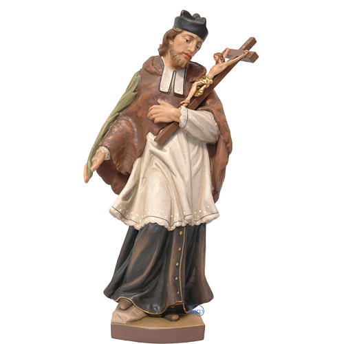 Saint John of Nepomuk in painted Valgardena wood, 25cm 1