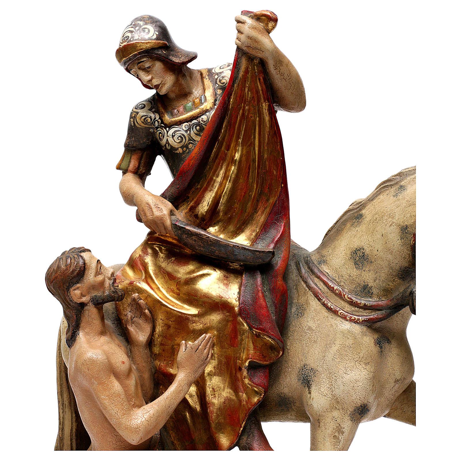 STOCK San Martino a cavallo legno dipinto Valgardena 4