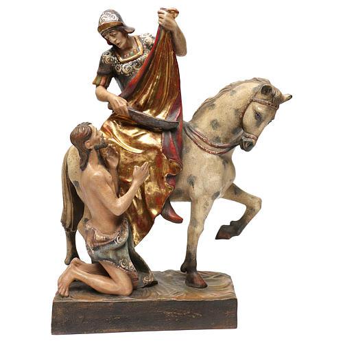 STOCK San Martino a cavallo legno dipinto Valgardena 1