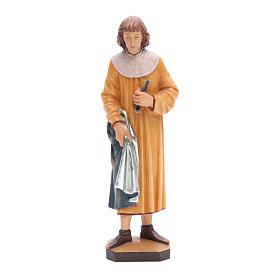 Hand painted wooden statues: Saint Cosmas with forceps in painted Valgardena wood, 25cm