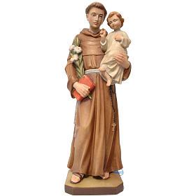 Statues en bois peint: Saint Antoine avec Enfant Jésus bois peint Valgardena