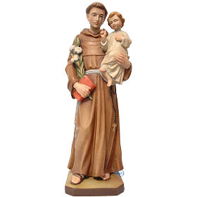 Hand painted wooden statues: Saint Anthony with baby in painted Valgardena wood