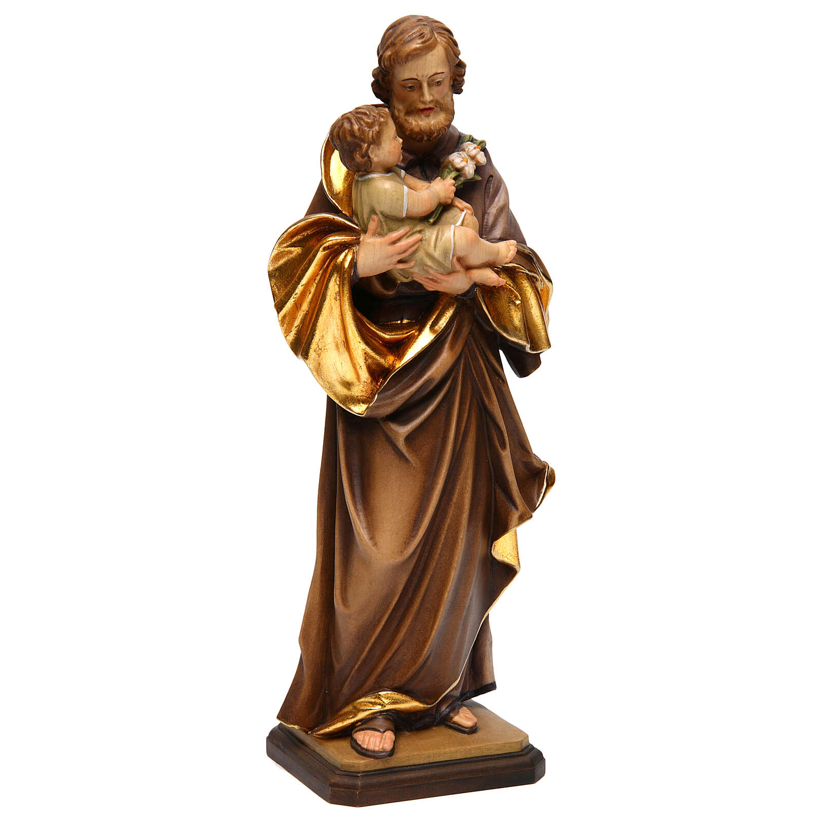 Saint Joseph with baby by Guido Reni in Valgardena wood 4
