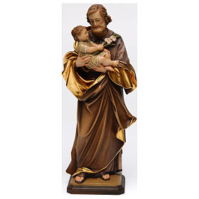 Hand painted wooden statues: Saint Joseph with baby by Guido Reni in Valgardena wood