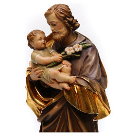 Saint Joseph with baby by Guido Reni in Valgardena wood s2