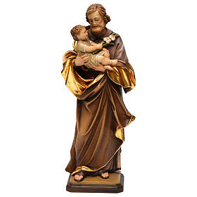 Saint Joseph with baby by Guido Reni in Valgardena wood s1