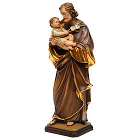 Saint Joseph with baby by Guido Reni in Valgardena wood s3